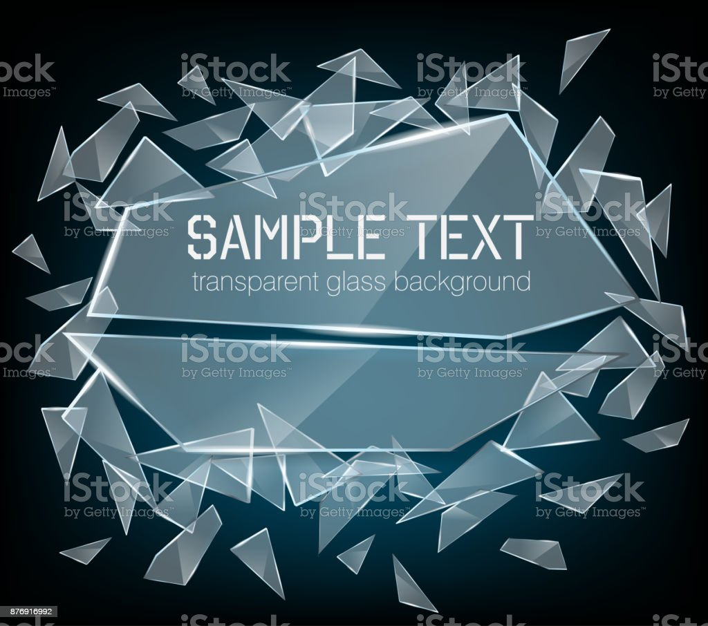 Vector transparent broken glass with sharp pieces. Abstract glass surface background vector art illustration