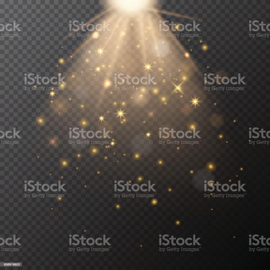 Vector transparent golden glow with bokeh magic light effect.