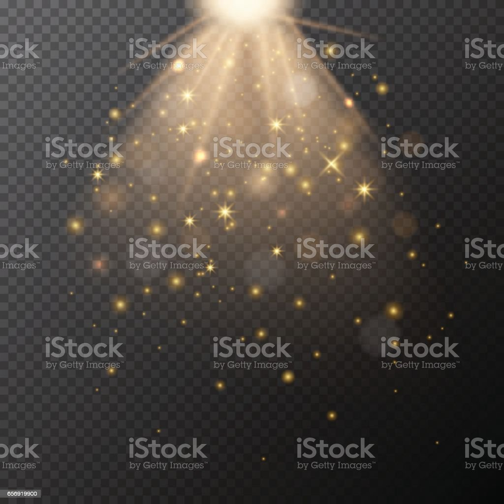 Vector transparent golden glow with bokeh magic light effect. vector art illustration