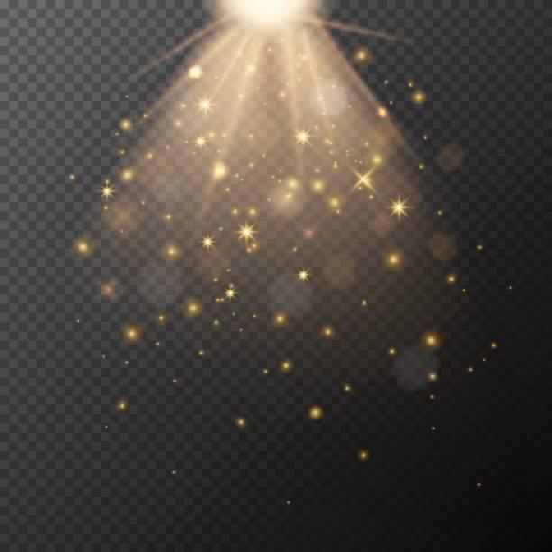 vector transparent golden glow with bokeh magic light effect. - shiny stock illustrations, clip art, cartoons, & icons