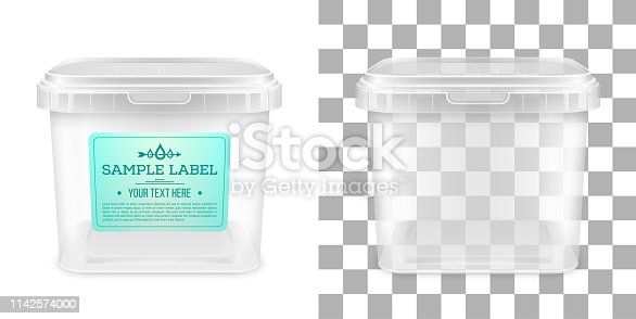 Cubo de plástico vacío cuadrado transparente vector con etiqueta. Vista frontal.