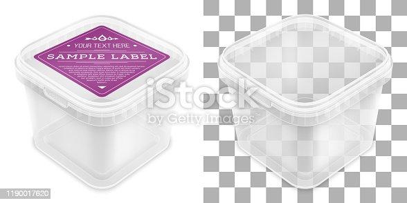 Cubo de plástico vacío cuadrado transparente vectorial con etiqueta. Vista superior desde la esquina.