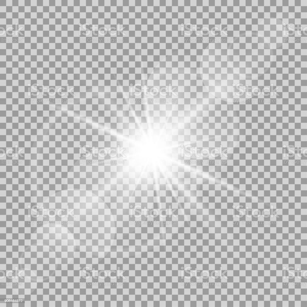 Vector transparent sun flash with rays and spotligh vector art illustration