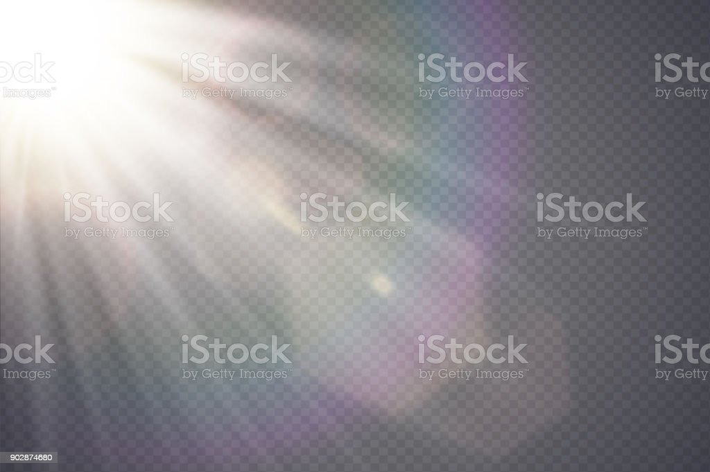 Vector transparent sunlight special lens flare. Abstract diagonal sun translucent light effect design. Isolated transparent background. Glow decor element. Star burst rays and spotlight - Grafika wektorowa royalty-free (Abstrakcja)