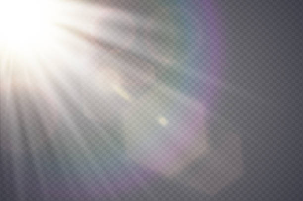 vector transparent sunlight special lens flare. abstract diagonal sun translucent light effect design. isolated transparent background. glow decor element. star burst rays and spotlight - reflektor światło elektryczne stock illustrations
