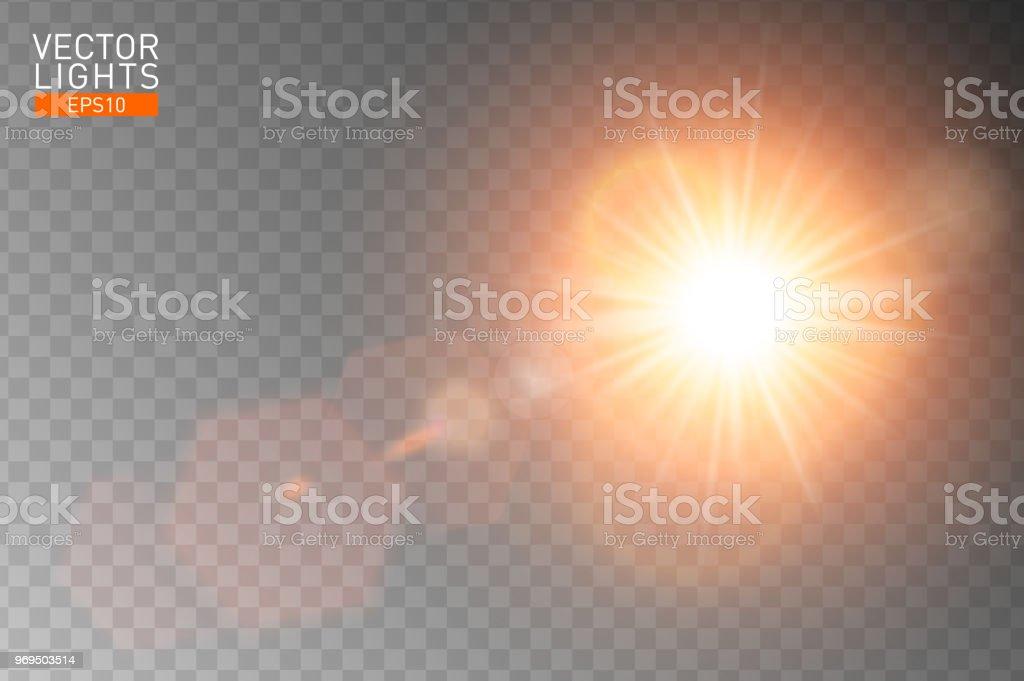 Reflexo de lente especial de luz solar transparente de vetor. Resumo flash raios de sol e holofotes. Projeto de efeito de luz especial translúcido frontal dourado. Fundo isolado. Elemento de decoração. Explosão de estrela horizontal - Vetor de Amarelo royalty-free