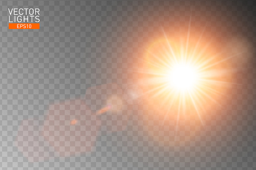 Vector transparent sunlight special lens flare. Abstract sun flash rays and spotlight. Golden front translucent special light effect design. Isolated background. Decor element. Horizontal star burst