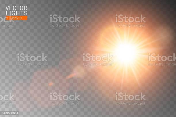 Vetores de Reflexo De Lente Especial De Luz Solar Transparente De Vetor Resumo Flash Raios De Sol E Holofotes Projeto De Efeito De Luz Especial Translúcido Frontal Dourado Fundo Isolado Elemento De Decoração Explosão De Estrela Horizontal e mais imagens de Amarelo
