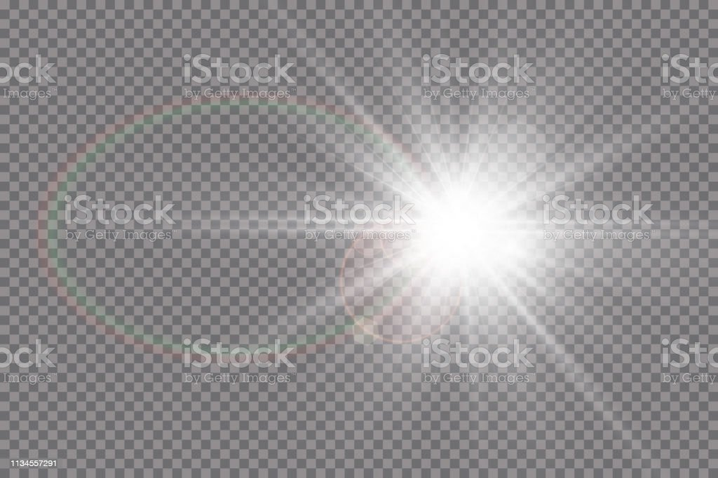 Vector transparent sunlight special lens flare light effect. Sun...