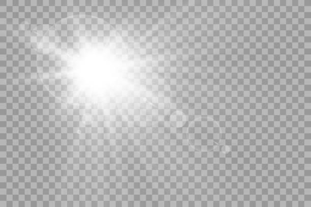 вектор прозрачного солнечного света специальный эффект вспышки объектива света. вспышка солнца с лучами и прожектором - блестящий stock illustrations