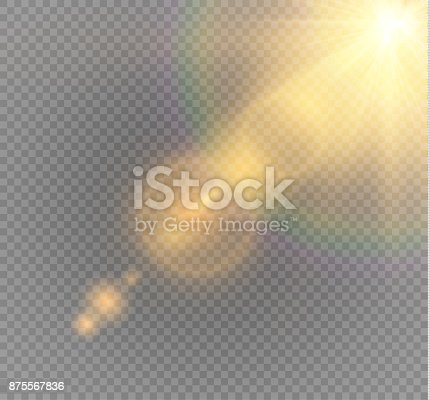626588878 istock photo Vector transparent sunlight special lens flare light effect. Sun flash with rays and spotlight 875567836
