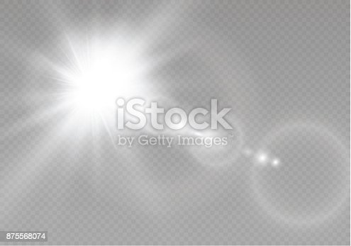 626588878 istock photo Vector transparent sunlight special lens flare light effect. Sun flash with rays and spotlight 875568074