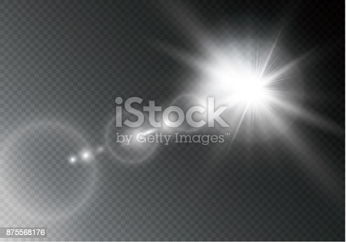 626588878 istock photo Vector transparent sunlight special lens flare light effect. Sun flash with rays and spotlight 875568176