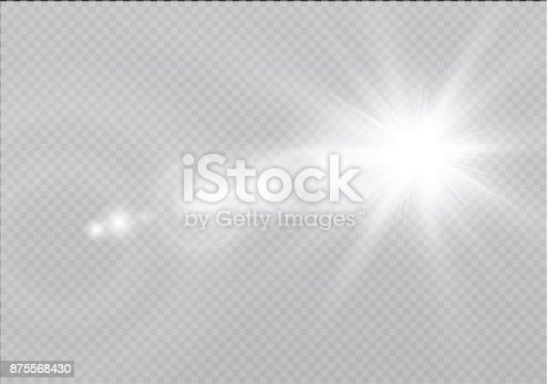 626588878 istock photo Vector transparent sunlight special lens flare light effect. Sun flash with rays and spotlight 875568430