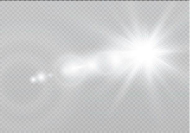 Vector transparent sunlight special lens flare light effect. Sun flash with rays and spotlight Vector transparent sunlight special lens flare light effect. Sun flash with rays and spotlight disco lights stock illustrations