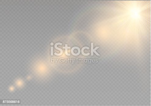 626588878 istock photo Vector transparent sunlight special lens flare light effect. Sun flash with rays and spotlight 875568616