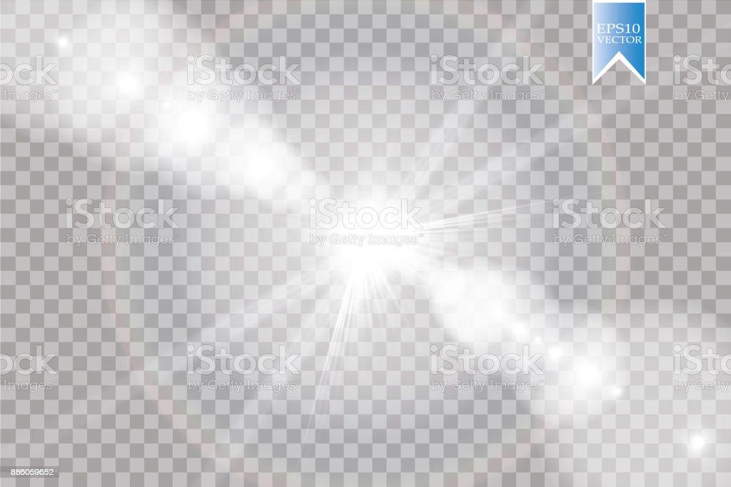 Vector transparent sunlight special lens flare light effect. Sun flash with rays and spotlight vector art illustration