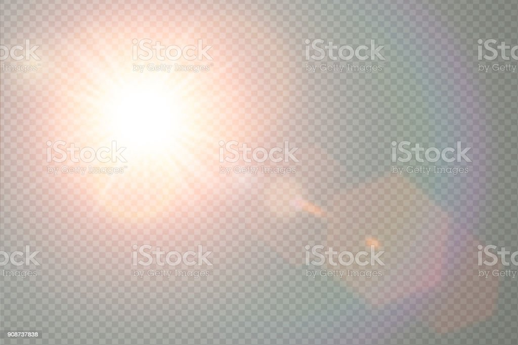 Vector transparent sunlight special lens flare light effect. Sun flash with warm rays and spotlight. Abstract translucent decor element design. Isolated star burst in sky.