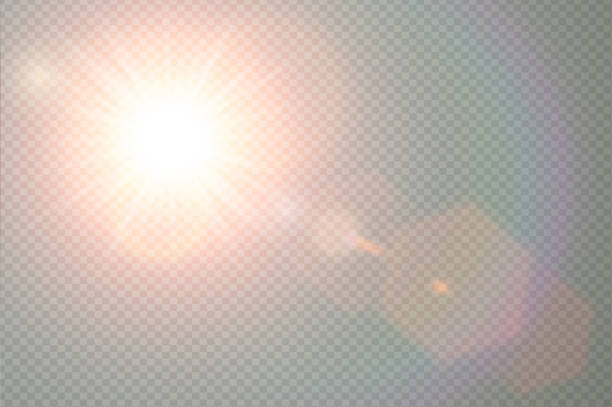 Vector transparent sunlight special lens flare light effect. Sun flash with warm rays and spotlight. Abstract translucent decor element design. Isolated star burst in sky. Vector sun light effect lighting technique stock illustrations