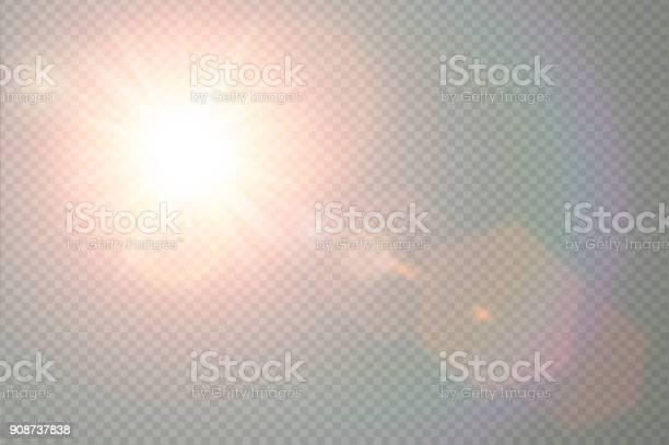 Vetores de Vector Luz Solar Transparente Especial Lente Flare Efeito De Luz Sol Flash Com Raios Quentes E Holofotes Design De Elementos Abstratos Decoração Translúcido Explosão De Estrela Isolada No Céu e mais imagens de Abstrato