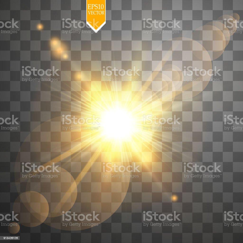 Vektor Transparent Sonnenlicht Spezialoptik Flare Lichteffekt Sonne ...