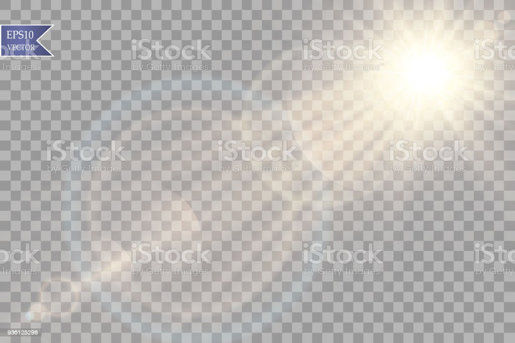Vector transparent sunlight special lens flare light effect. Sun flash with rays and spotlight