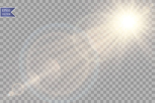 vector transparent sunlight special lens flare light effect. sun flash with rays and spotlight - reflektor światło elektryczne stock illustrations