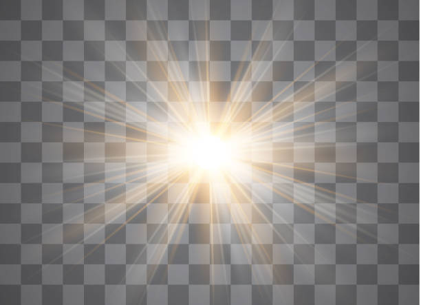 vector transparent sunlight special lens flare light effect. - reflektor światło elektryczne stock illustrations