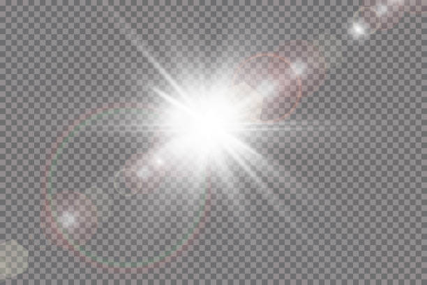 vector transparent sunlight special lens flare light effect. - flara obiektywu stock illustrations