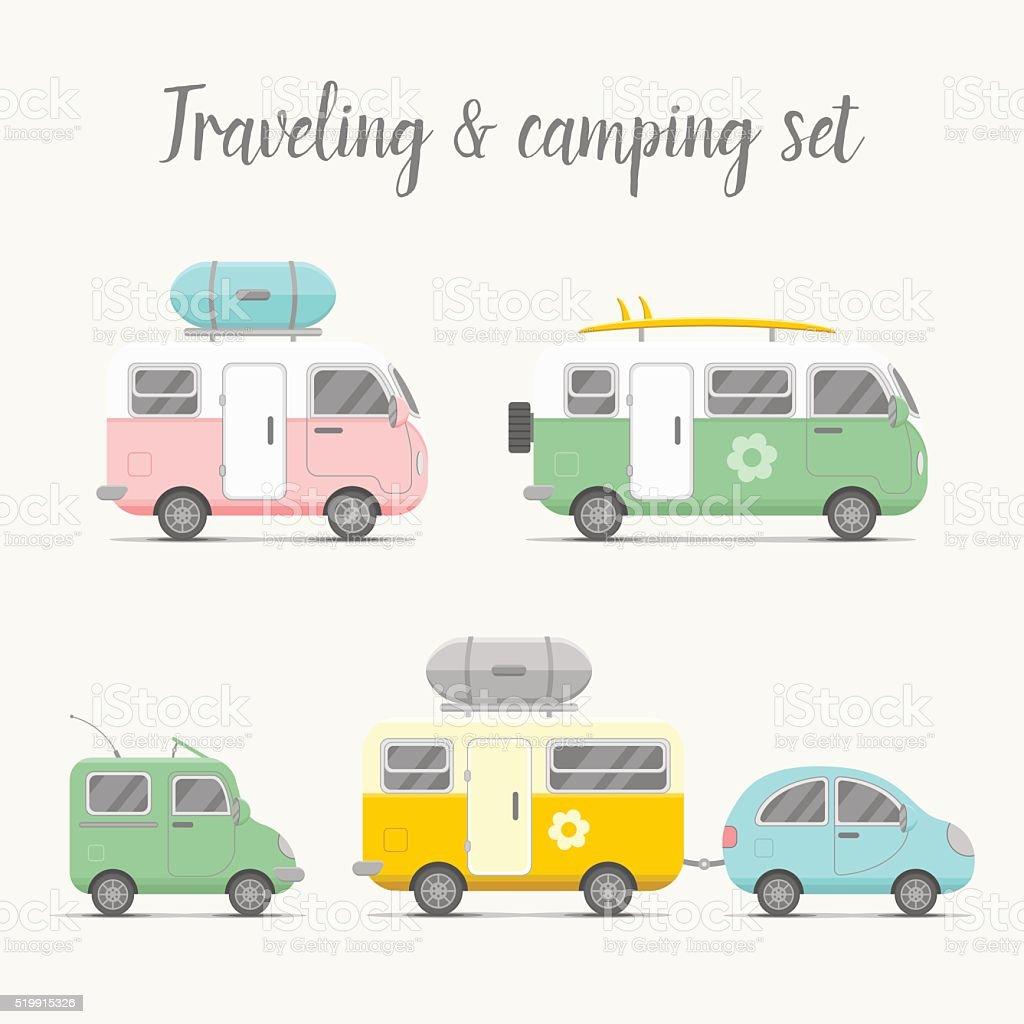 Vector transport caravan set. Types of trailers vector art illustration