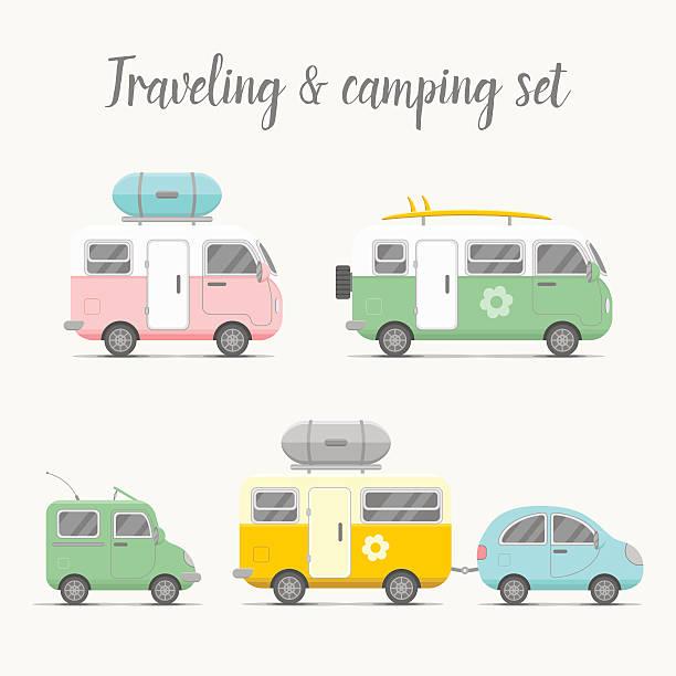 stockillustraties, clipart, cartoons en iconen met vector transport caravan set. types of trailers - caravan
