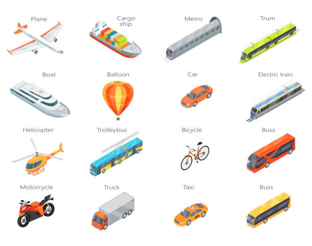 Vector Transport Icons in Isometric Projection Collection of transport icons. Vector in isometric projection. 3d illustrations of road, railway, flying, water, personal, public and commercial transport with caption. For ad design, app icons, games train vehicle stock illustrations
