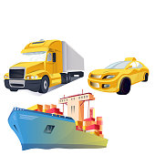 Vector Transport logistics and transportation. Global courier delivery services. Online tracking system. Engraved ink art. Isolated delivery illustration element.