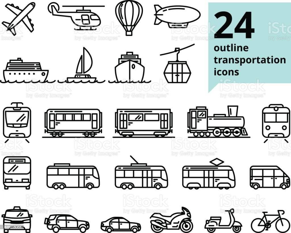 Vector de transporte y viajes relacionados con conjunto de 24 iconos de contorno ligero - ilustración de arte vectorial