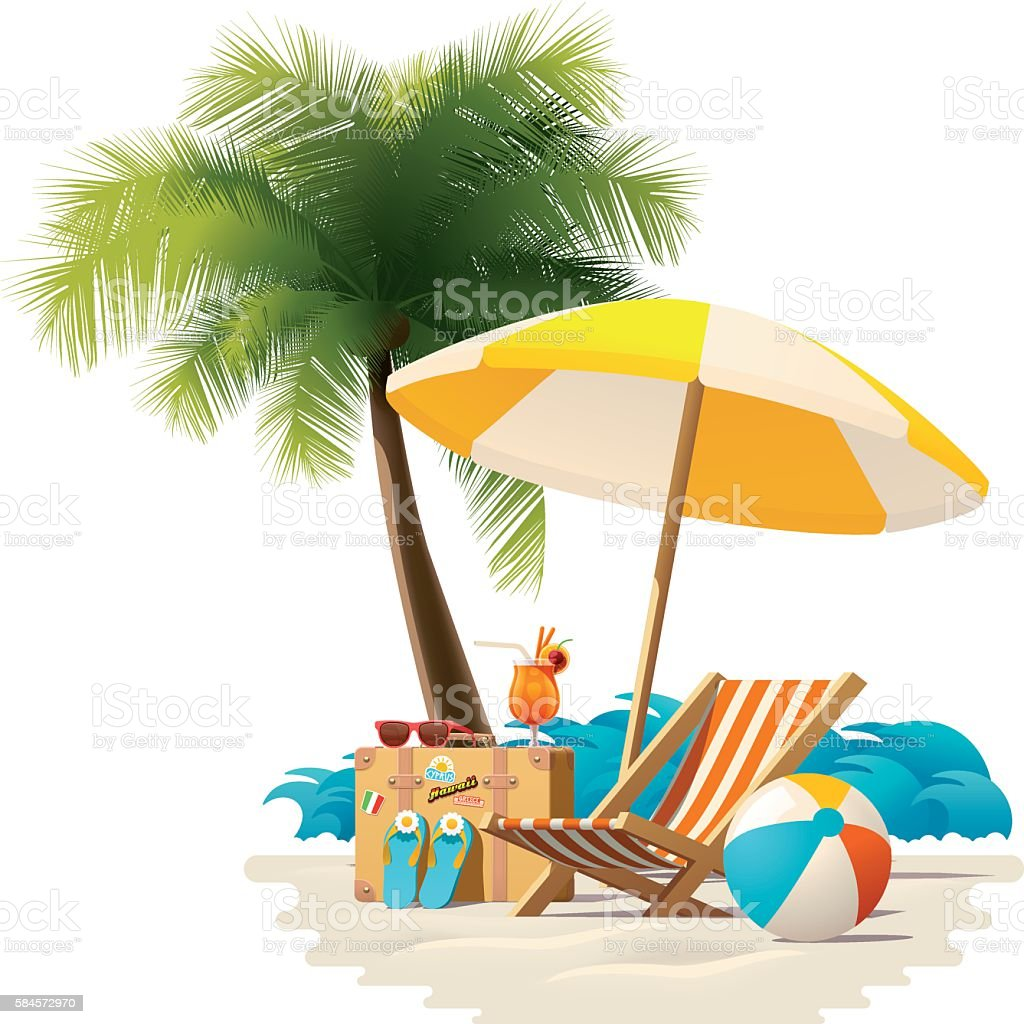Vector travel and summer beach vacation relax icon vector art illustration