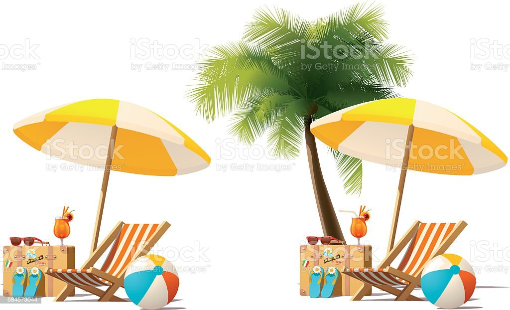 Vector Travel And Summer Beach Vacation Relax Icon Art Illustration