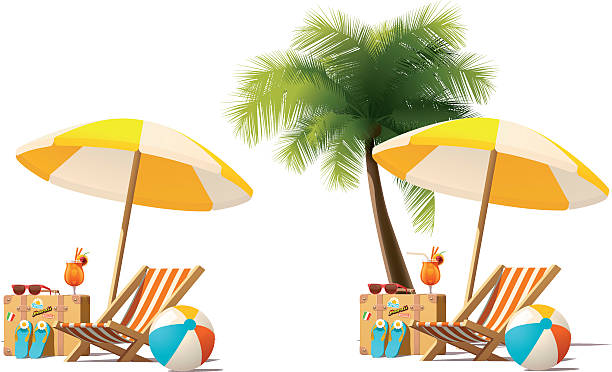 Vector travel and summer beach vacation relax icon Detailed vector icon representing deck chair, travel suitcase, sun umbrella and cocktail near deck chair on the seaside beach outdoor chair stock illustrations