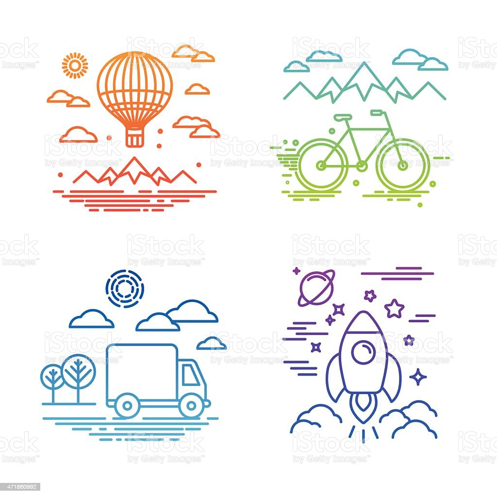 Vector travel and transportation concepts vector art illustration