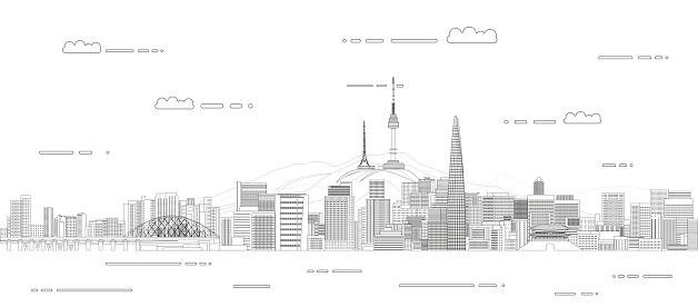 Vector travel background poster with Seoul city line art style outline illustration