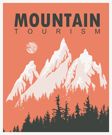 vector travel banner with mountains and pine trees