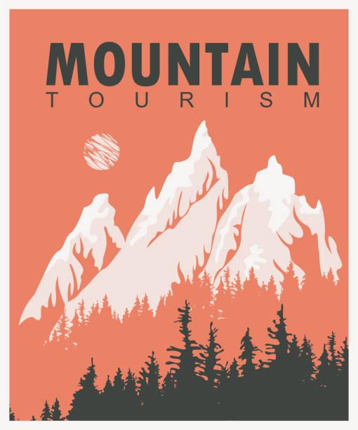 illustrazioni stock, clip art, cartoni animati e icone di tendenza di vector travel banner with mountains and pine trees - negozio sci