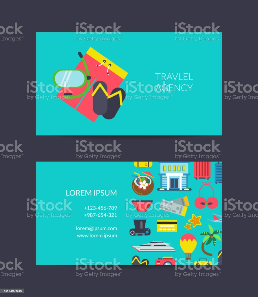 Vector Travel Business Card Template For Travel Agency Stock Vector ...