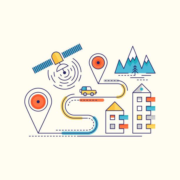 Vektor Reisekonzept. GPS-Navigation Infografik – Vektorgrafik