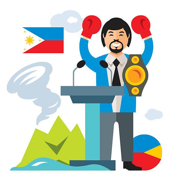 vector travel concept philippines. flat style colorful cartoon illustration. - kanzlerin stock-grafiken, -clipart, -cartoons und -symbole
