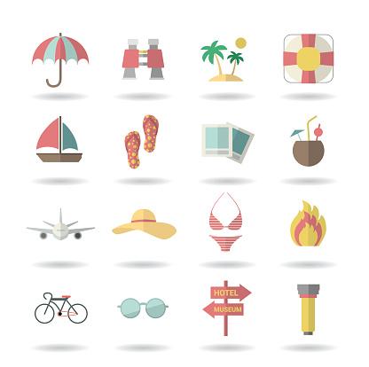 Vector travel icons set flat desing