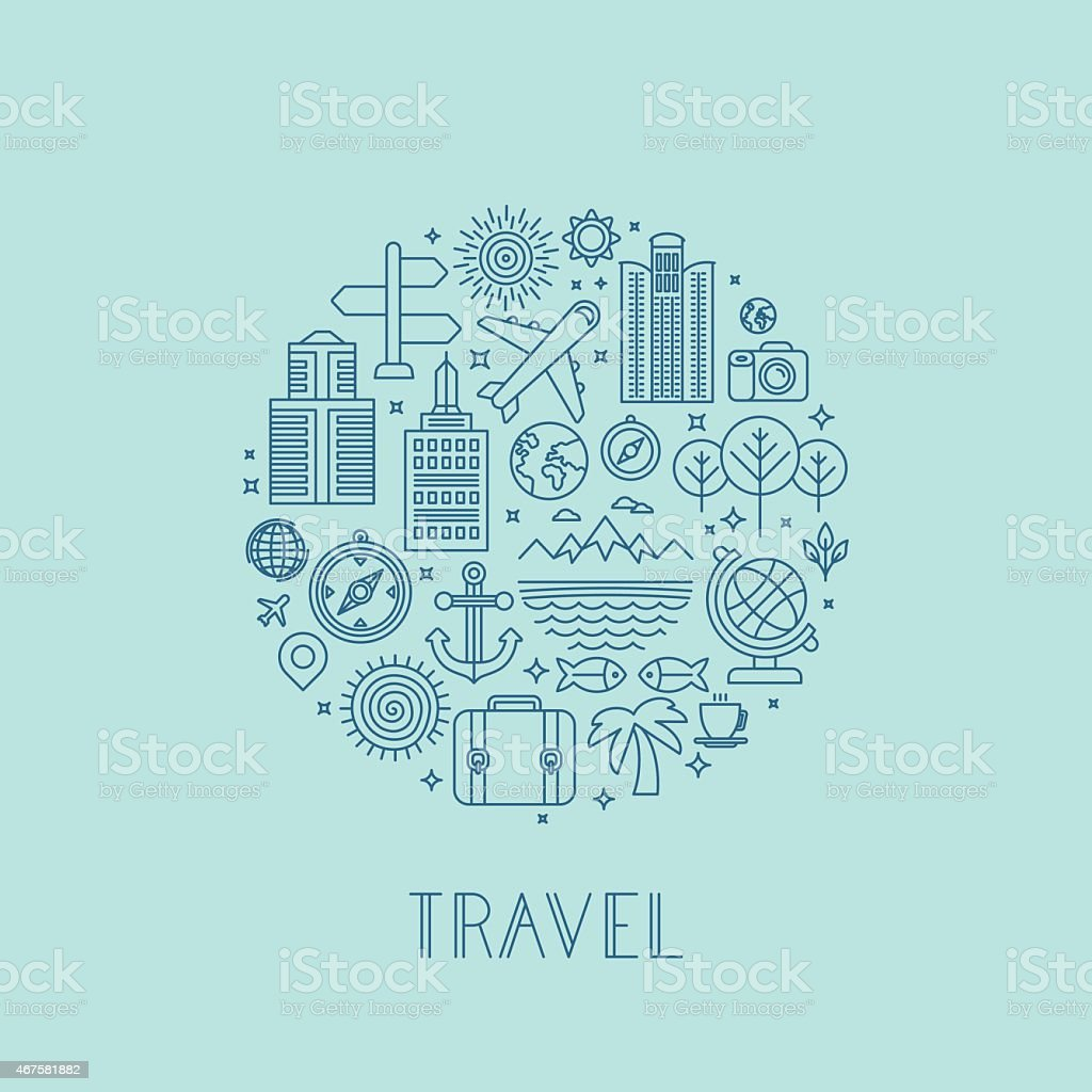 Vector travel logos and icons in outline style vector art illustration