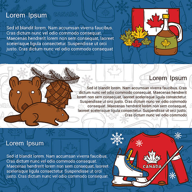 Vector travel north america concept with cartoon hand drawn objects Vector travel north america concept with cartoon hand drawn objects on Canada theme: maple syrup, hockey stick, puck, bear, horn for your design maple syrup stock illustrations