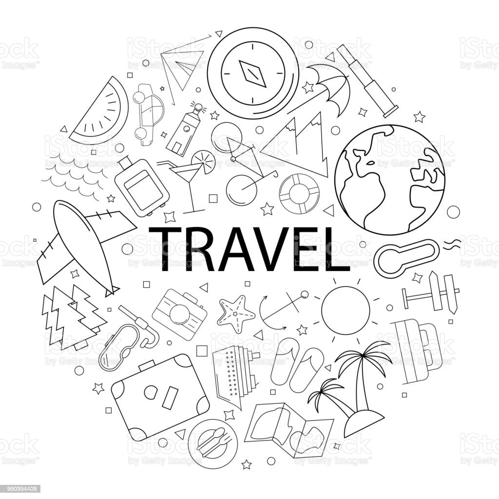 vector travel pattern with word travel background stock vector art
