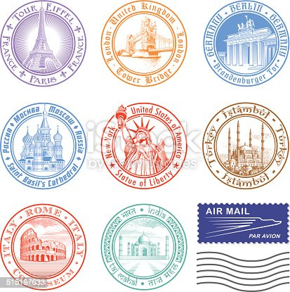 High quality Vector Stamps of major monuments around the world.