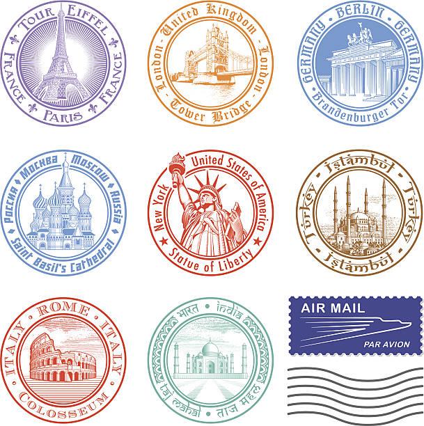 ilustrações, clipart, desenhos animados e ícones de vetor de selos - passaporte e visto